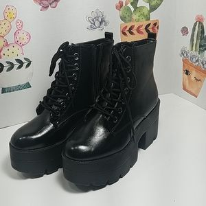 Black Lace  Up Ankle Boot size 6